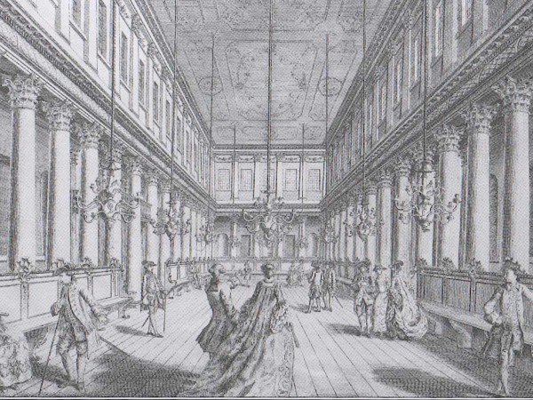 Interior of the Assembly Rooms. William Lindley after Lord Burlington, 'Grand Assembly Room in Blake Street', 1756 (York Georgian Society).
