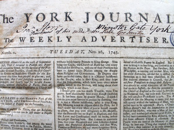 Jonathan Storr's signature and address on the first pages of his volume of the York Journal from 1745.