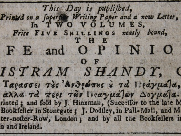 Advertisement from the York Courant, 18 December 1759. © The Laurence Sterne Trust
