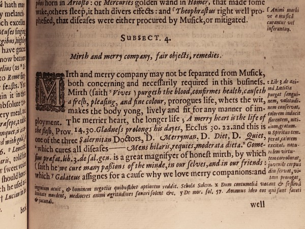 From Robert Burton's Anatomy of Melancholy, sixth edition (1651) (© Laurence Sterne Trust)